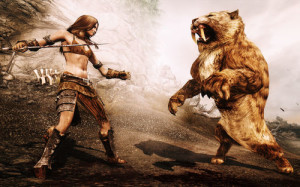 skyrim-fight-with-a-sabre-tooth-tiger