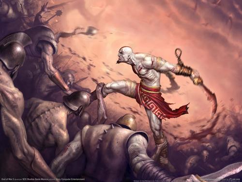 Kratos in una posa molto bulla contro le schiere di Ares