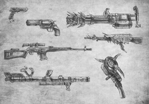 Alcune delle mirabolanti armi illustrate all'interno del manuale!