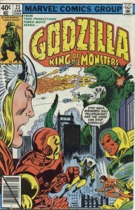 "Godzilla incontra gli Avengers in ""Godzilla King of the Monsters No. 23"" (Giugno 1979) della Marvel Comics. Cover di Herb Trimpe e Dan Green."