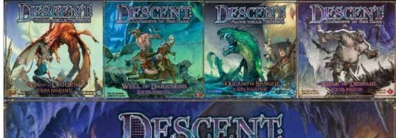 La prima edizione di Descent al completo: per goderselo appieno occorrono almeno 2 espansioni, fate voi il conto dei soldi...