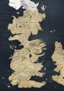 La mappa del Westeros, con la costa occidentale di Essos