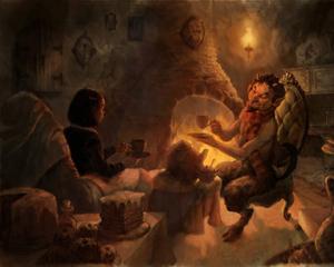 L'incontro tra Lucy e il fauno Tumnus, protagonisti del romanzo Le Cronache di Narnia.