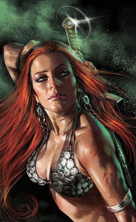 Red Sonja by Lucio. Chainmail bikini come se piovesse