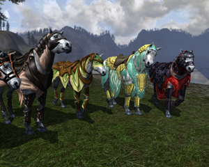 Alcuni esempi di cavalcatura ottenibili in The Lord of the Rings Online.