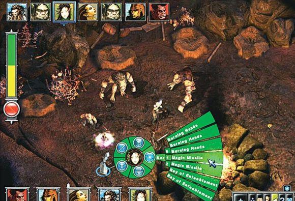 In alto, l'ordine di iniziativa nel round. In basso, l'interfaccia a raggiera del personaggio. In mezzo, due Ogre poco propensi al dialogo.