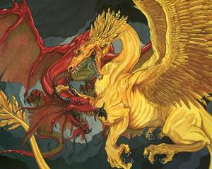 In Dungeons & Dragons al dragone d'oro, buono e generoso, viene opposto il dragone rosso come incarnazione della distruzione e della supremazia del più forte sul più debole.