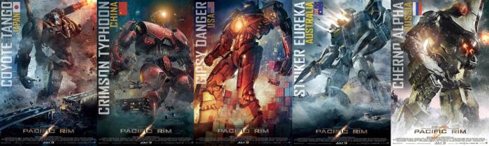 I cinque jaeger presentati da del Toro nel film