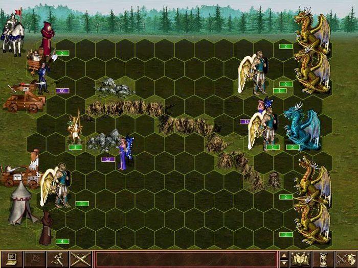 Confronto tra armate nella schermata di battaglia di HoMM 3, con l'eroe a sovrintendere in alto a sinistra. Qui volano botte da orbi!