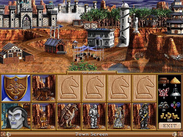 La schermata città con gli edifici costruiti e le risorse accumulate in basso a dx. In basso il nostro eroe con il suo esercito: notare i temutissimi halfling frombolieri!