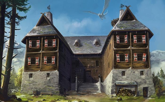 potrebbe sembrare un tipico rifugio della Val di Susa...non fosse per il drago che svulazza pacificamente (?) in cielo...
