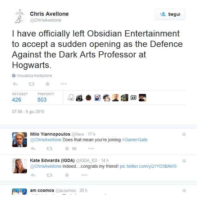 Chris Avellone lascia Obsidian
